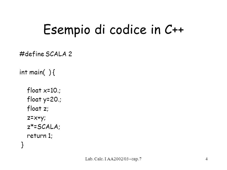 Lab. Calc. I AA2002/03 - cap.75 Codice C++ Precompilatore