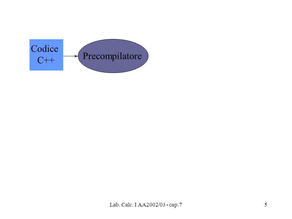 Lab. Calc. I AA2002/03 - cap.76 Codice C++ Precompilatore Codice C++