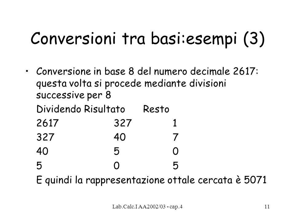 Lab.Calc.I AA2002/03 - cap.411 Conversioni tra basi:esempi (3) Conversione in base 8 del numero decimale 2617: questa volta si procede mediante divisi