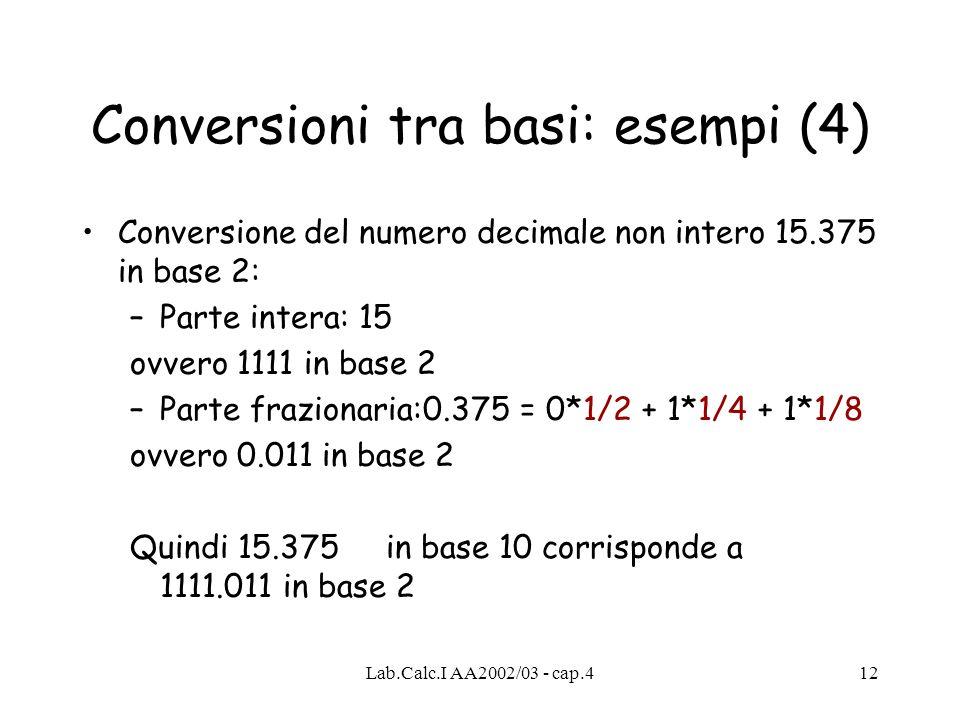 Lab.Calc.I AA2002/03 - cap.412 Conversioni tra basi: esempi (4) Conversione del numero decimale non intero 15.375 in base 2: –Parte intera: 15 ovvero