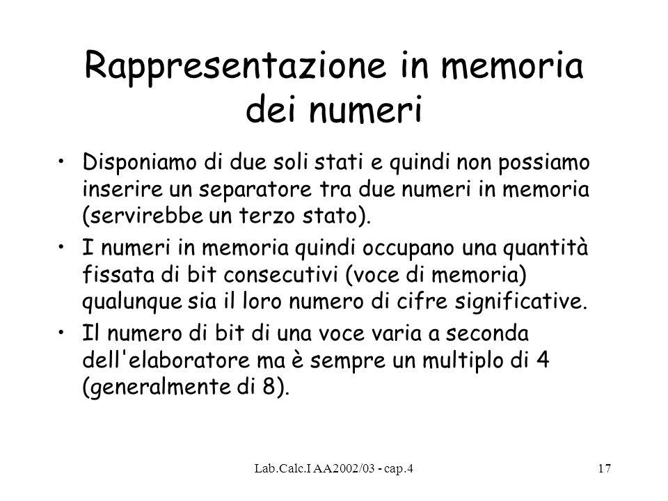 Lab.Calc.I AA2002/03 - cap.417 Rappresentazione in memoria dei numeri Disponiamo di due soli stati e quindi non possiamo inserire un separatore tra du