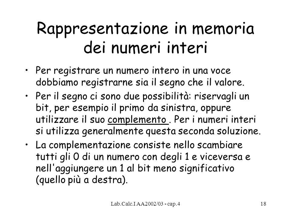Lab.Calc.I AA2002/03 - cap.418 Rappresentazione in memoria dei numeri interi Per registrare un numero intero in una voce dobbiamo registrarne sia il s