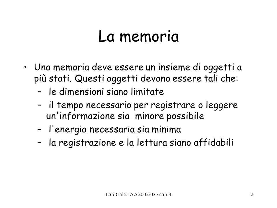 Lab.Calc.I AA2002/03 - cap.42 La memoria Una memoria deve essere un insieme di oggetti a più stati. Questi oggetti devono essere tali che: – le dimens