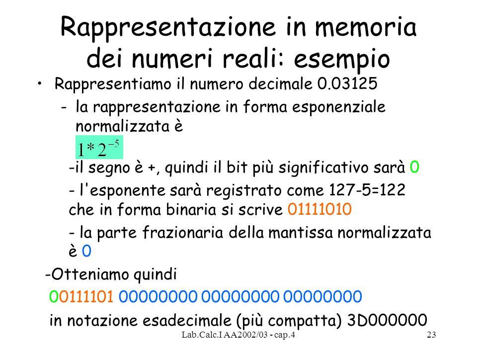 Lab.Calc.I AA2002/03 - cap.423 Rappresentazione in memoria dei numeri reali: esempio Rappresentiamo il numero decimale 0.03125 -la rappresentazione in