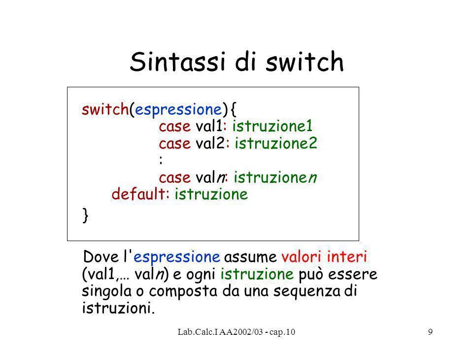 Lab.Calc.I AA2002/03 - cap.109 Sintassi di switch switch(espressione) { case val1: istruzione1 case val2: istruzione2 : case valn: istruzionen default