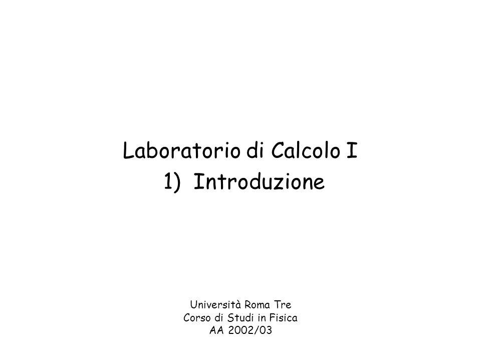 Laboratorio di Calcolo I 1) Introduzione Università Roma Tre Corso di Studi in Fisica AA 2002/03