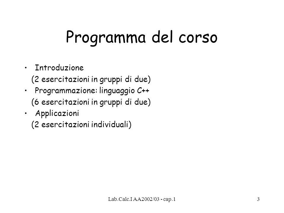 Lab.Calc.I AA2002/03 - cap.13 Programma del corso Introduzione (2 esercitazioni in gruppi di due) Programmazione: linguaggio C++ (6 esercitazioni in gruppi di due) Applicazioni (2 esercitazioni individuali)