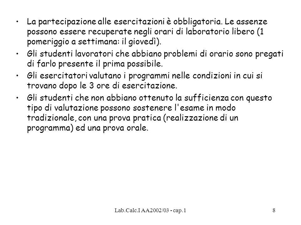 Lab.Calc.I AA2002/03 - cap.18 La partecipazione alle esercitazioni è obbligatoria.