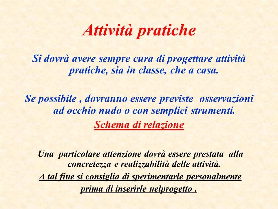 Attività pratiche Si dovrà avere sempre cura di progettare attività pratiche, sia in classe, che a casa.