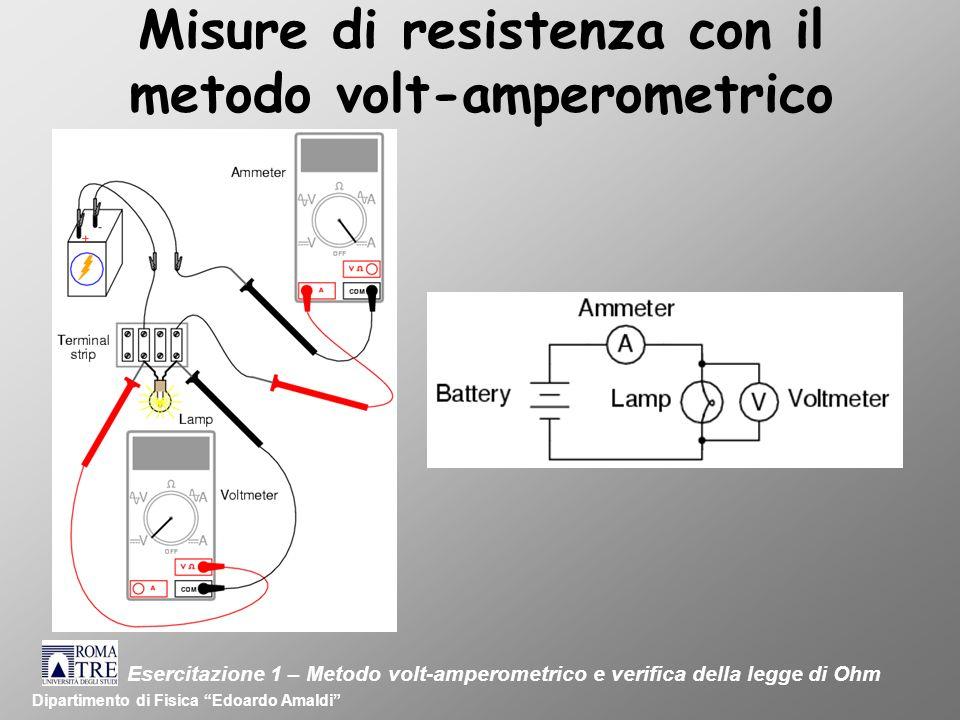 Misure di resistenza con il metodo volt-amperometrico Dipartimento di Fisica Edoardo Amaldi Esercitazione 1 – Metodo volt-amperometrico e verifica della legge di Ohm