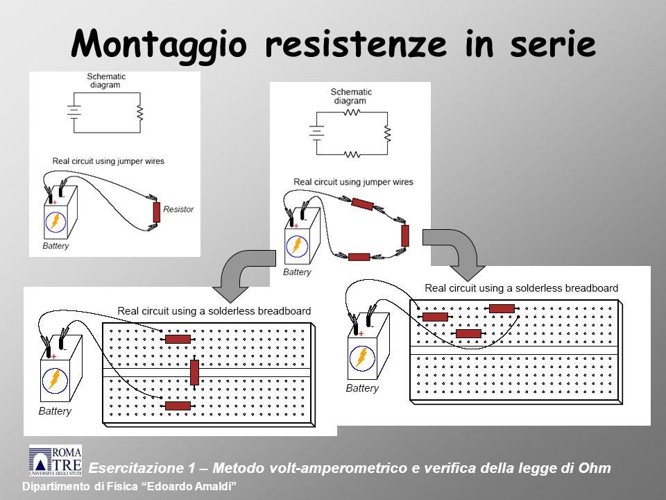 Montaggio resistenze in serie Dipartimento di Fisica Edoardo Amaldi Esercitazione 1 – Metodo volt-amperometrico e verifica della legge di Ohm