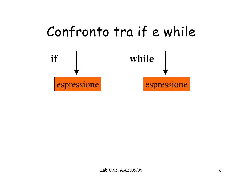 Lab.Calc. AA2005/066 Confronto tra if e while espressione ifwhile