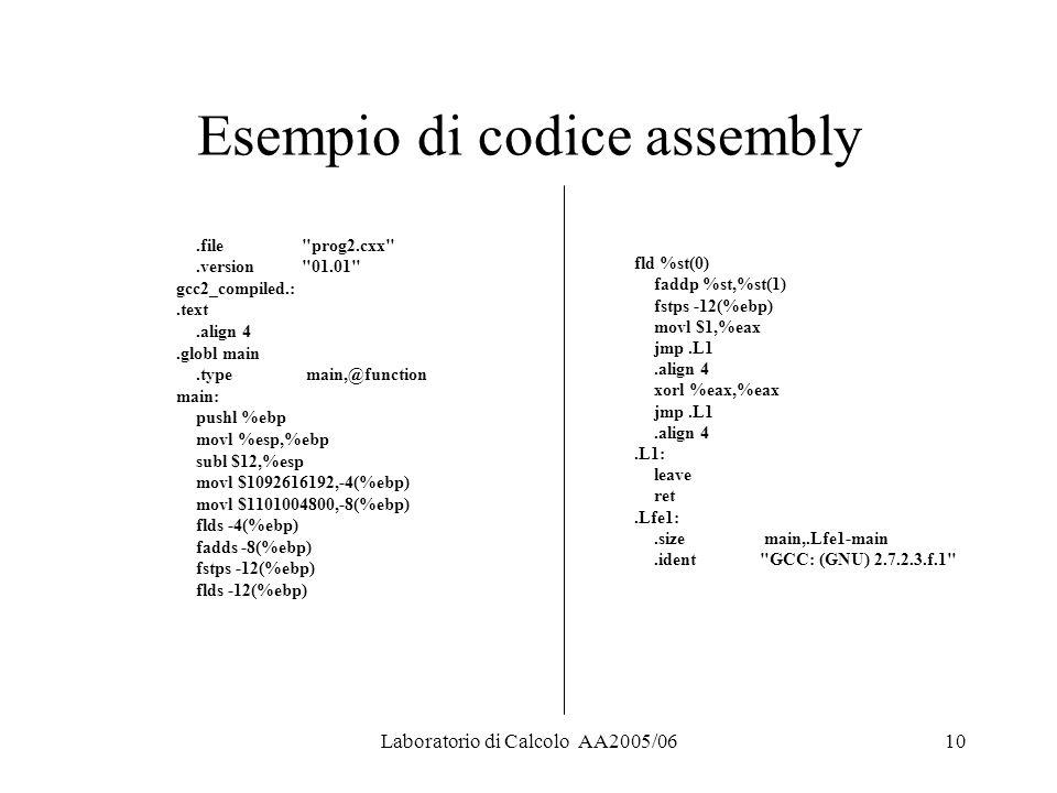 Laboratorio di Calcolo AA2005/0610 Esempio di codice assembly.file prog2.cxx .version 01.01 gcc2_compiled.:.text.align 4.globl main.type main,@function main: pushl %ebp movl %esp,%ebp subl $12,%esp movl $1092616192,-4(%ebp) movl $1101004800,-8(%ebp) flds -4(%ebp) fadds -8(%ebp) fstps -12(%ebp) flds -12(%ebp) fld %st(0) faddp %st,%st(1) fstps -12(%ebp) movl $1,%eax jmp.L1.align 4 xorl %eax,%eax jmp.L1.align 4.L1: leave ret.Lfe1:.size main,.Lfe1-main.ident GCC: (GNU) 2.7.2.3.f.1