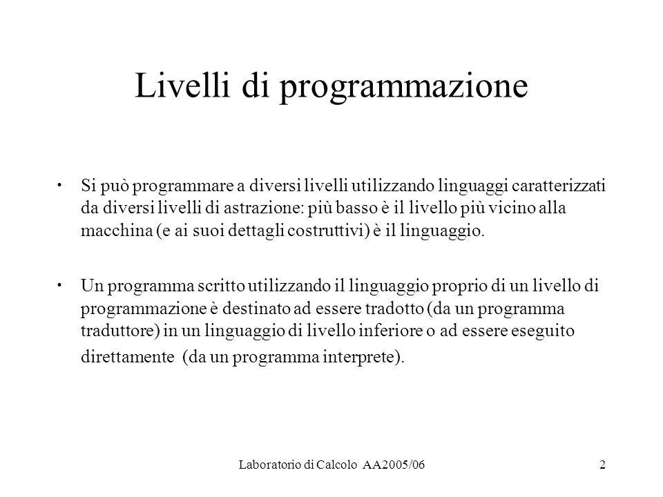 Laboratorio di Calcolo AA2005/062 Livelli di programmazione Si può programmare a diversi livelli utilizzando linguaggi caratterizzati da diversi livelli di astrazione: più basso è il livello più vicino alla macchina (e ai suoi dettagli costruttivi) è il linguaggio.