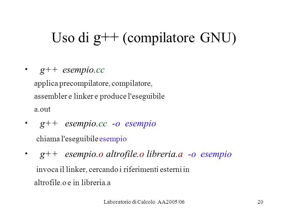 Laboratorio di Calcolo AA2005/0620 Uso di g++ (compilatore GNU) g++ esempio.cc applica precompilatore, compilatore, assembler e linker e produce l eseguibile a.out g++ esempio.cc -o esempio chiama l eseguibile esempio g++ esempio.o altrofile.o libreria.a -o esempio invoca il linker, cercando i riferimenti esterni in altrofile.o e in libreria.a