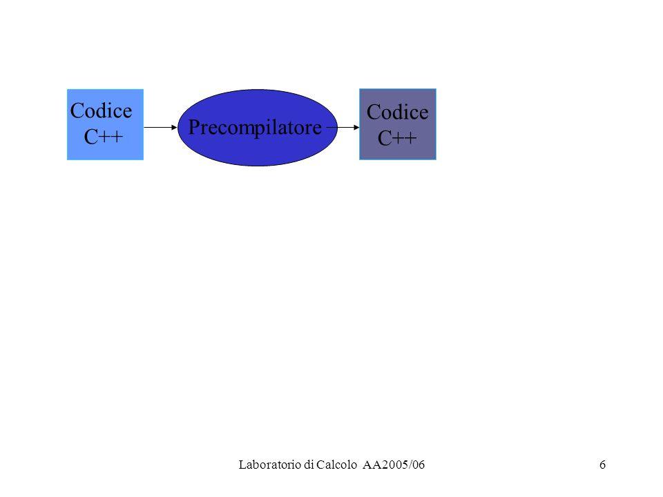 Laboratorio di Calcolo AA2005/066 Codice C++ Precompilatore Codice C++