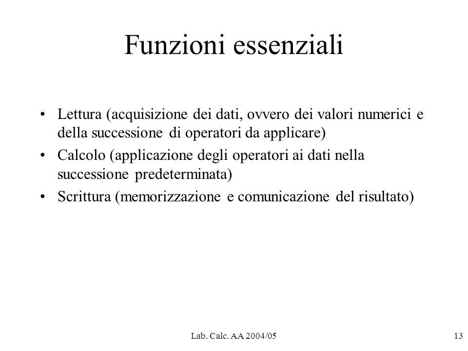 Lab. Calc. AA 2004/0513 Funzioni essenziali Lettura (acquisizione dei dati, ovvero dei valori numerici e della successione di operatori da applicare)