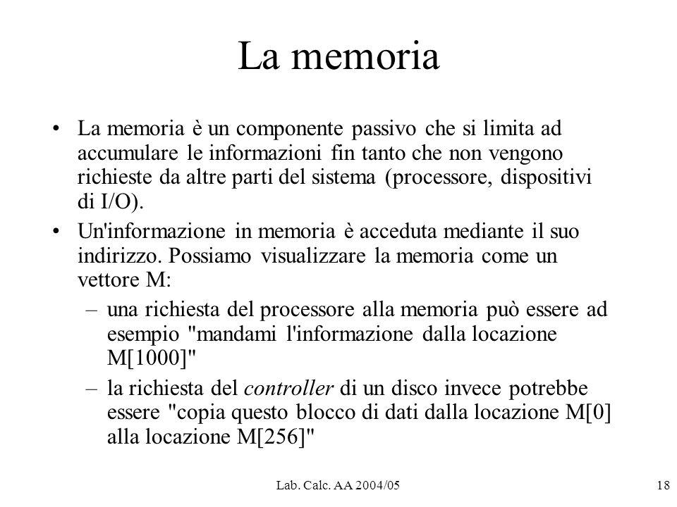 Lab. Calc. AA 2004/0518 La memoria La memoria è un componente passivo che si limita ad accumulare le informazioni fin tanto che non vengono richieste