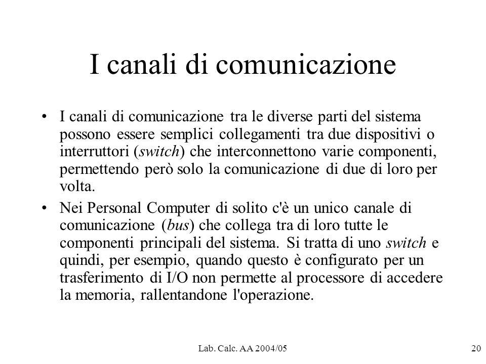 Lab. Calc. AA 2004/0520 I canali di comunicazione I canali di comunicazione tra le diverse parti del sistema possono essere semplici collegamenti tra