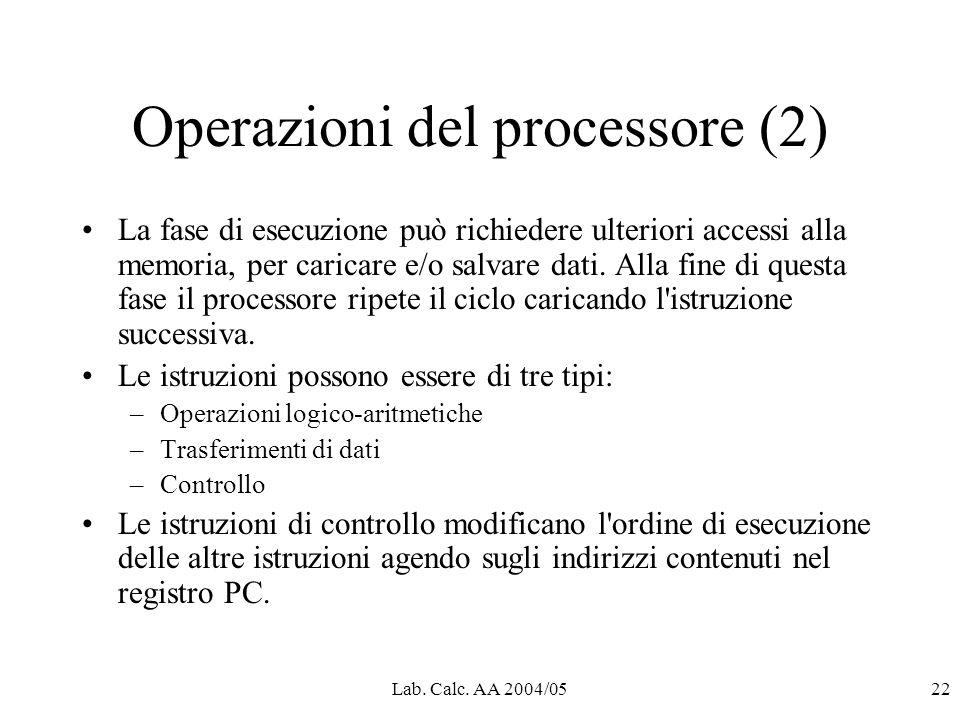 Lab. Calc. AA 2004/0522 Operazioni del processore (2) La fase di esecuzione può richiedere ulteriori accessi alla memoria, per caricare e/o salvare da