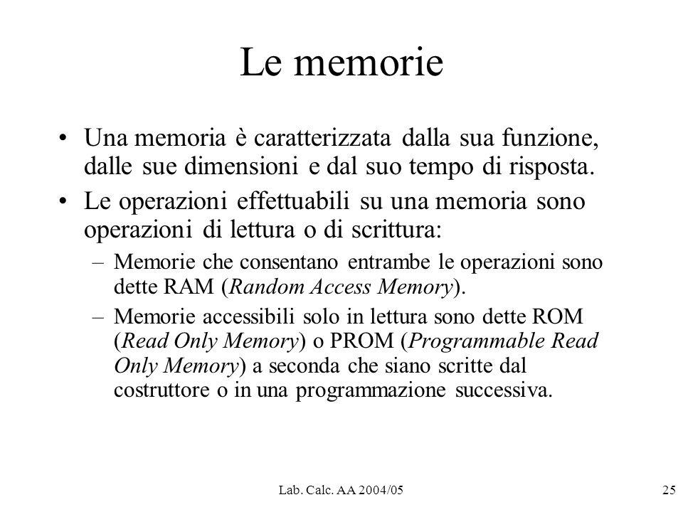 Lab. Calc. AA 2004/0525 Le memorie Una memoria è caratterizzata dalla sua funzione, dalle sue dimensioni e dal suo tempo di risposta. Le operazioni ef