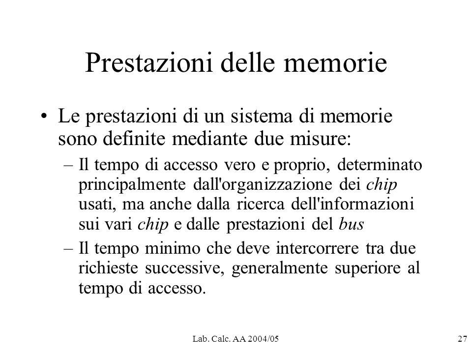 Lab. Calc. AA 2004/0527 Prestazioni delle memorie Le prestazioni di un sistema di memorie sono definite mediante due misure: –Il tempo di accesso vero