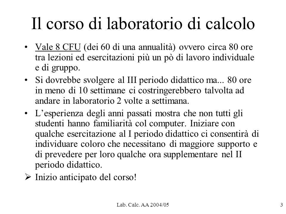 Lab. Calc. AA 2004/053 Il corso di laboratorio di calcolo Vale 8 CFU (dei 60 di una annualità) ovvero circa 80 ore tra lezioni ed esercitazioni più un