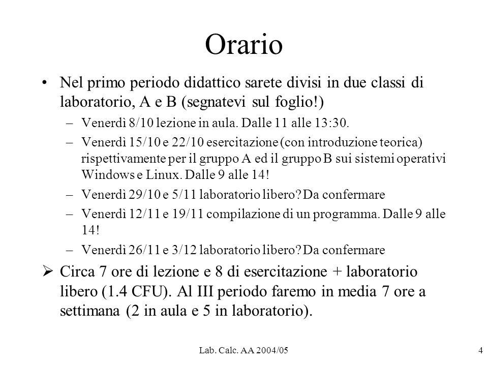 Lab. Calc. AA 2004/054 Orario Nel primo periodo didattico sarete divisi in due classi di laboratorio, A e B (segnatevi sul foglio!) –Venerdì 8/10 lezi