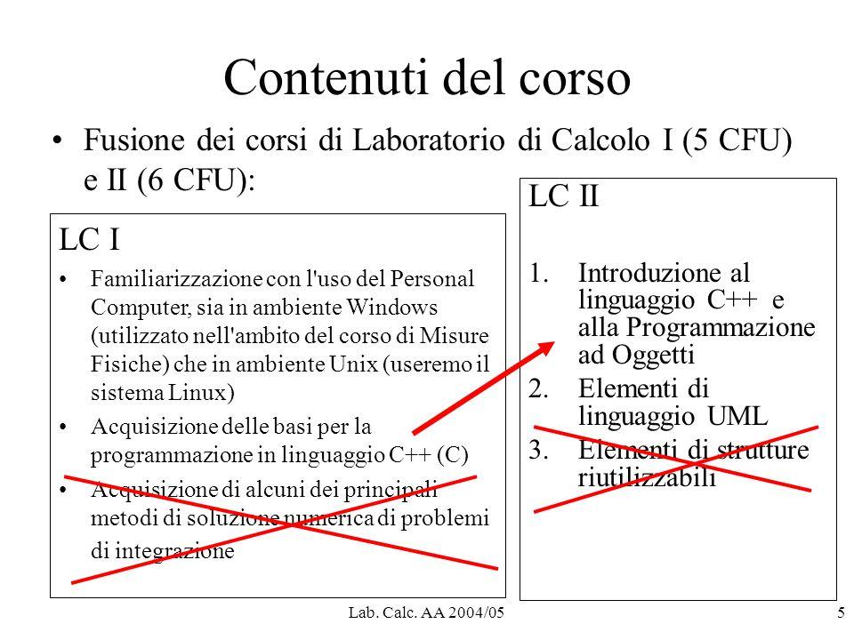 Lab. Calc. AA 2004/055 Contenuti del corso Fusione dei corsi di Laboratorio di Calcolo I (5 CFU) e II (6 CFU): LC I Familiarizzazione con l'uso del Pe