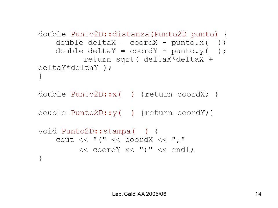 Lab. Calc. AA 2005/0614 double Punto2D::distanza(Punto2D punto) { double deltaX = coordX - punto.x( ); double deltaY = coordY - punto.y( ); return sqr