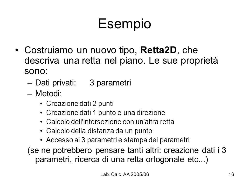 Lab. Calc. AA 2005/0616 Esempio Costruiamo un nuovo tipo, Retta2D, che descriva una retta nel piano. Le sue proprietà sono: –Dati privati: 3 parametri