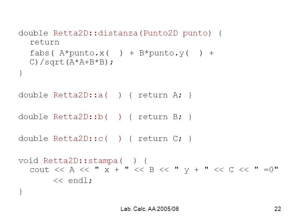 Lab. Calc. AA 2005/0622 double Retta2D::distanza(Punto2D punto) { return fabs( A*punto.x( ) + B*punto.y( ) + C)/sqrt(A*A+B*B); } double Retta2D::a( )