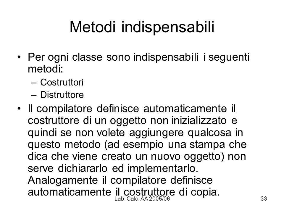 Lab. Calc. AA 2005/0633 Metodi indispensabili Per ogni classe sono indispensabili i seguenti metodi: –Costruttori –Distruttore Il compilatore definisc