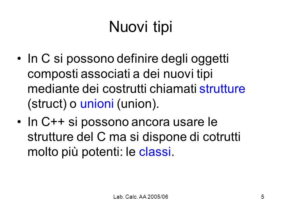 Lab. Calc. AA 2005/065 Nuovi tipi In C si possono definire degli oggetti composti associati a dei nuovi tipi mediante dei costrutti chiamati strutture