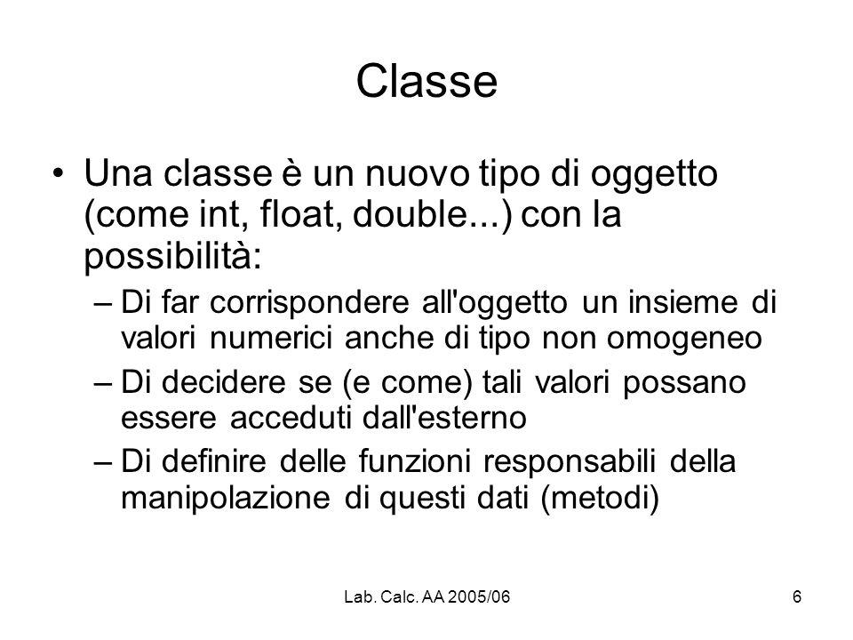 Lab. Calc. AA 2005/066 Classe Una classe è un nuovo tipo di oggetto (come int, float, double...) con la possibilità: –Di far corrispondere all'oggetto