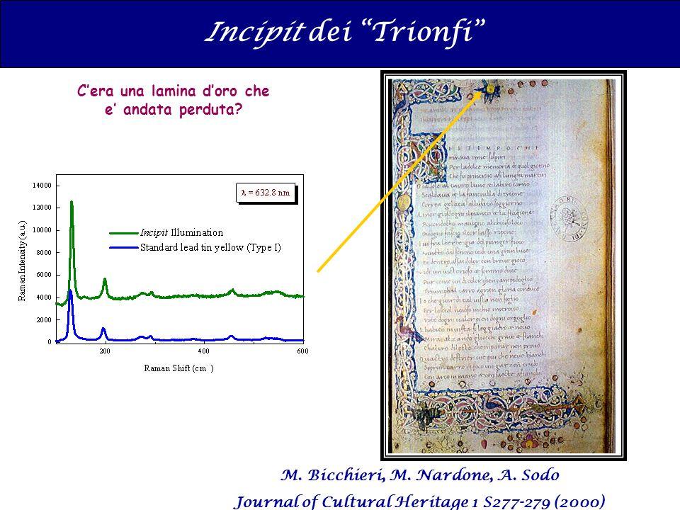 Incipit dei Trionfi Cera una lamina doro che e andata perduta? M. Bicchieri, M. Nardone, A. Sodo Journal of Cultural Heritage 1 S277-279 (2000)