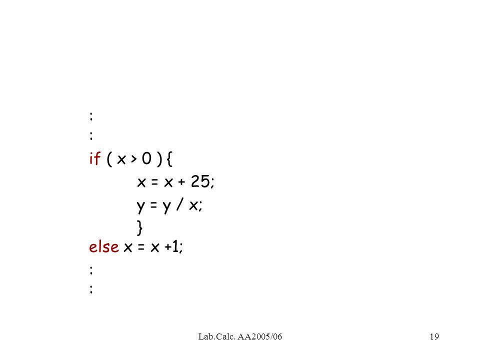 Lab.Calc. AA2005/0619 : if ( x > 0 ) { x = x + 25; y = y / x; } else x = x +1;: