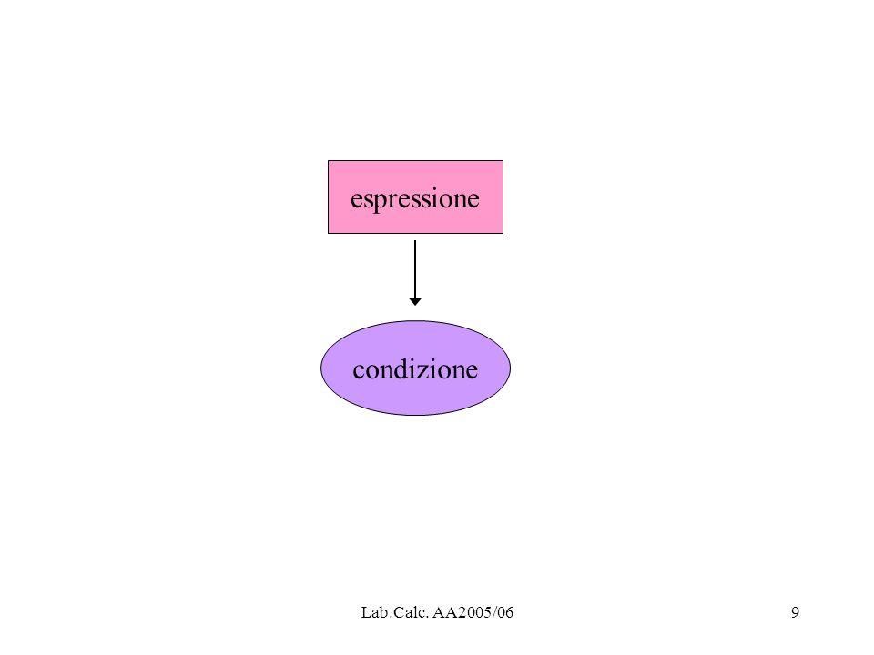 Lab.Calc. AA2005/0610 espressione condizione successo