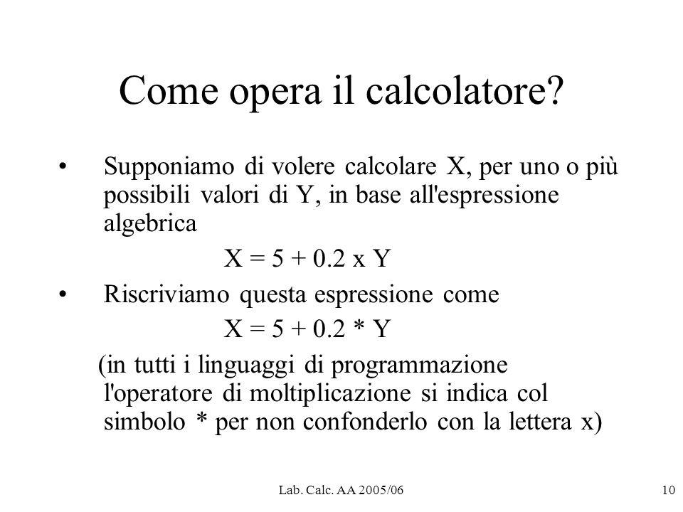 Lab. Calc. AA 2005/0610 Come opera il calcolatore.