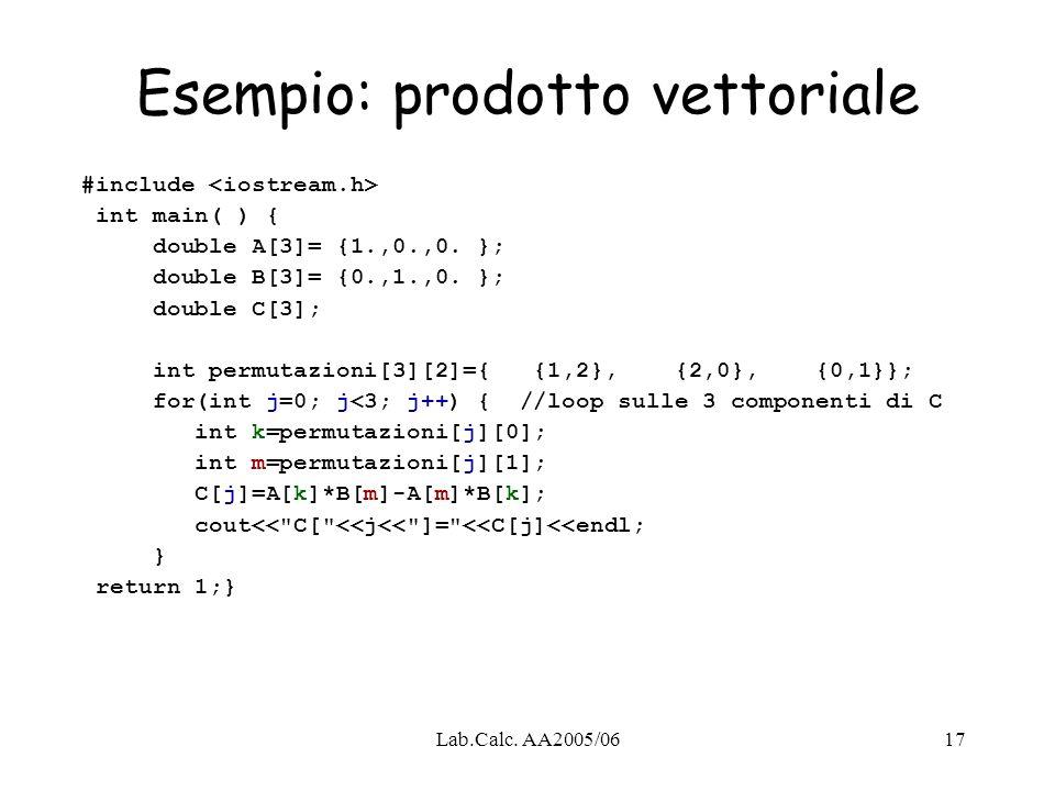 Lab.Calc. AA2005/0617 Esempio: prodotto vettoriale #include int main( ) { double A[3]= {1.,0.,0. }; double B[3]= {0.,1.,0. }; double C[3]; int permuta