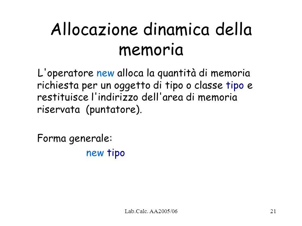 Lab.Calc. AA2005/0621 Allocazione dinamica della memoria L'operatore new alloca la quantità di memoria richiesta per un oggetto di tipo o classe tipo