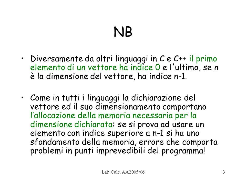 Lab.Calc. AA2005/063 NB Diversamente da altri linguaggi in C e C++ il primo elemento di un vettore ha indice 0 e l'ultimo, se n è la dimensione del ve