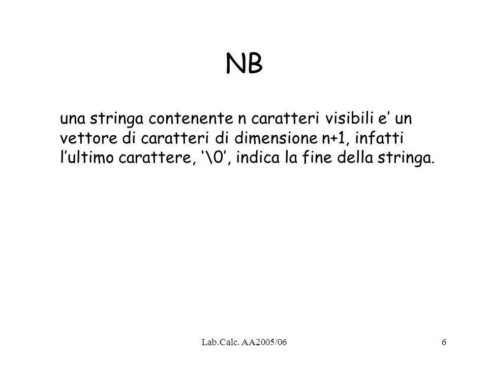 Lab.Calc. AA2005/066 NB una stringa contenente n caratteri visibili e un vettore di caratteri di dimensione n+1, infatti lultimo carattere, \0, indica