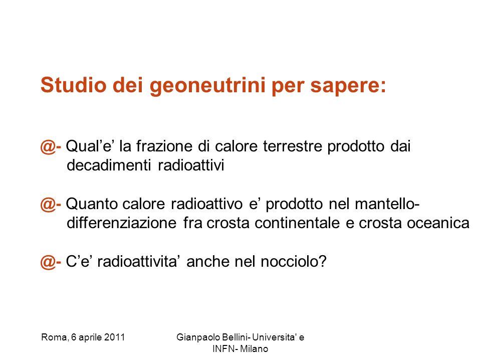 Roma, 6 aprile 2011Gianpaolo Bellini- Universita' e INFN- Milano Studio dei geoneutrini per sapere: @- Quale la frazione di calore terrestre prodotto