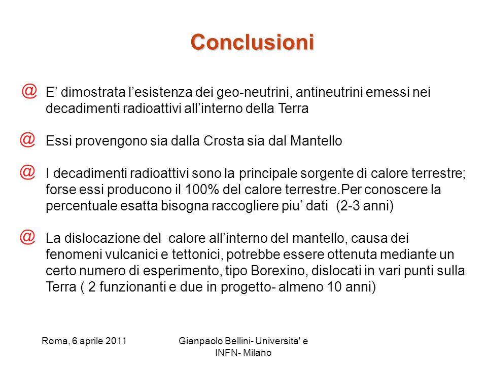 Roma, 6 aprile 2011Gianpaolo Bellini- Universita' e INFN- Milano Conclusioni @ E dimostrata lesistenza dei geo-neutrini, antineutrini emessi nei decad