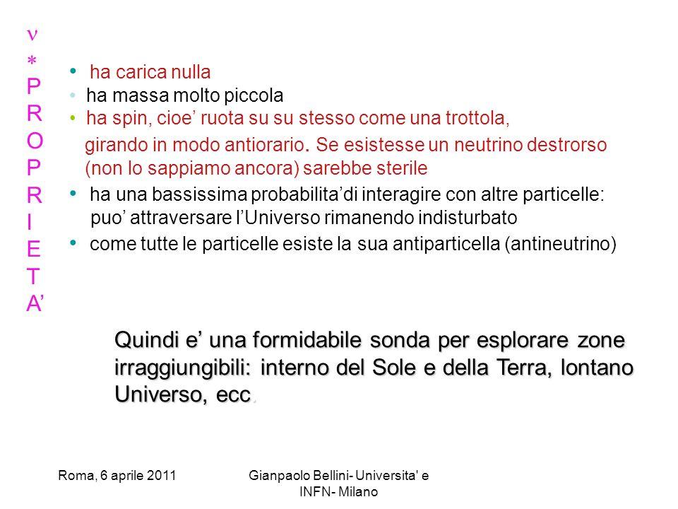 Roma, 6 aprile 2011Gianpaolo Bellini- Universita e INFN- Milano @ I fotoni, prodotti allinterno del Sole, impiegano ca.100000 anni ad uscire dalla nostra stella, mentre i neutrini escono da essa in 2-3 secondi: quindi i neutrini danno informazioni sul funzionamento del Sole in tempo reale.