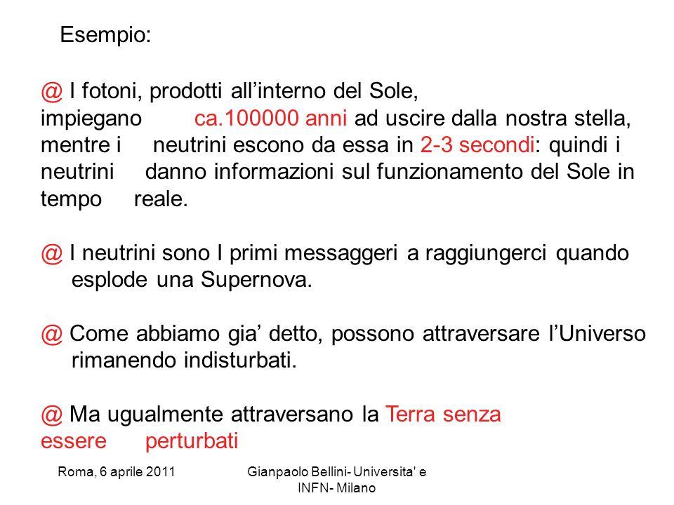 Roma, 6 aprile 2011Gianpaolo Bellini- Universita' e INFN- Milano @ I fotoni, prodotti allinterno del Sole, impiegano ca.100000 anni ad uscire dalla no