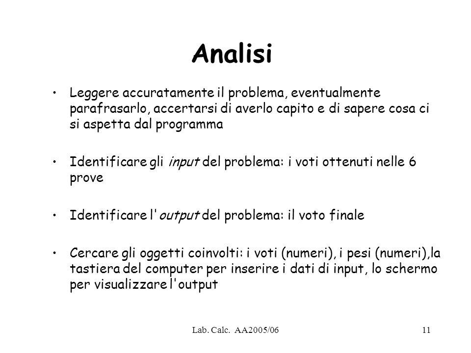 Lab. Calc. AA2005/0611 Analisi Leggere accuratamente il problema, eventualmente parafrasarlo, accertarsi di averlo capito e di sapere cosa ci si aspet