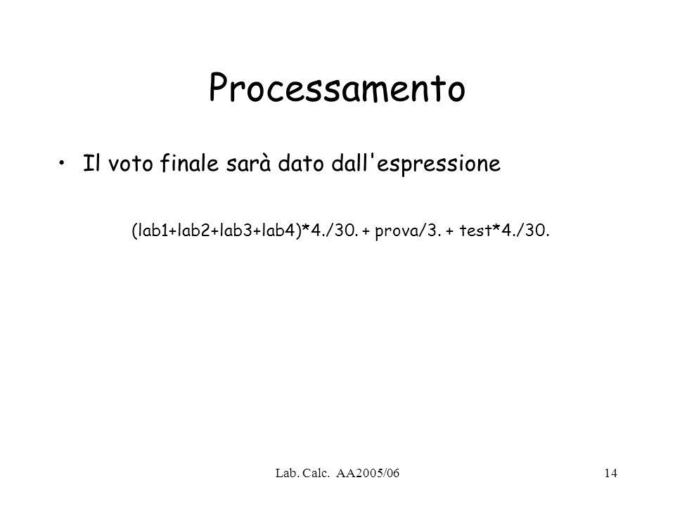 Lab. Calc. AA2005/0614 Processamento Il voto finale sarà dato dall'espressione (lab1+lab2+lab3+lab4)*4./30. + prova/3. + test*4./30.