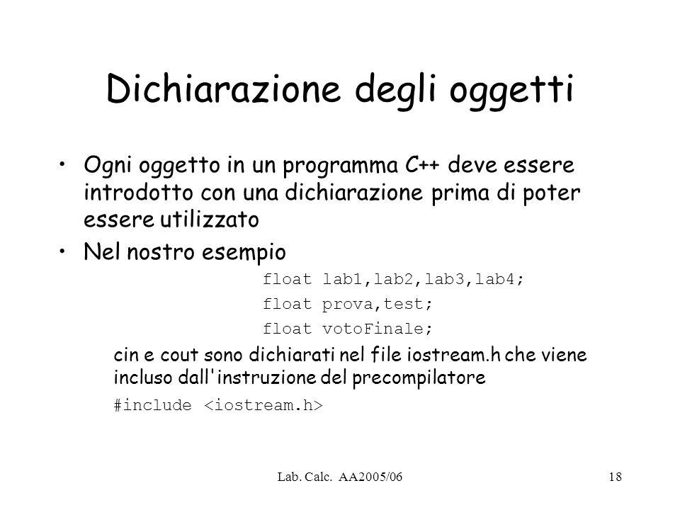 Lab. Calc. AA2005/0618 Dichiarazione degli oggetti Ogni oggetto in un programma C++ deve essere introdotto con una dichiarazione prima di poter essere